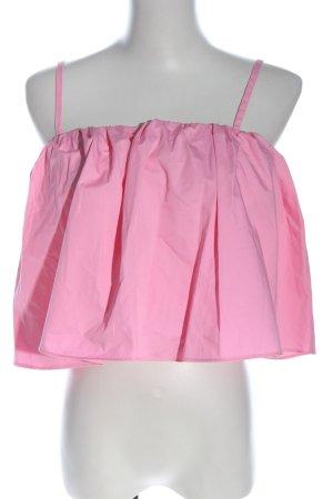 Zara Trafaluc Top recortado rosa look casual