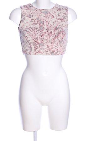 Zara Trafaluc Top corto bianco sporco-rosso stampa integrale stile casual