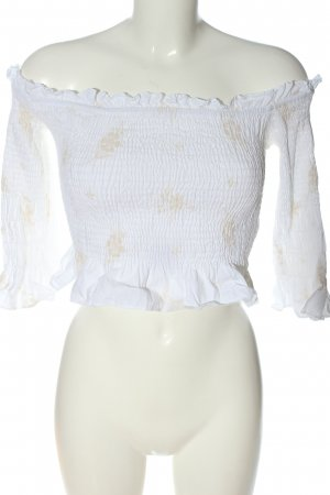 Zara Trafaluc Cropped Top weiß-creme abstraktes Muster Casual-Look