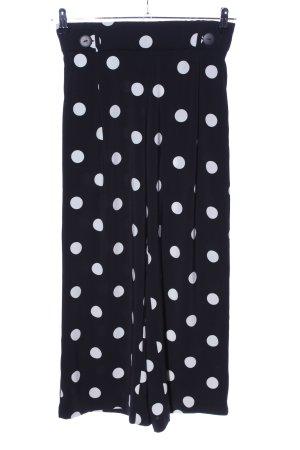 Zara Trafaluc Pantalone culotte nero-bianco motivo a pallini stile casual