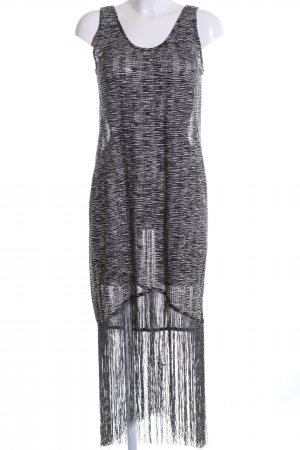 Zara Trafaluc Fransenkleid schwarz-weiß meliert Casual-Look