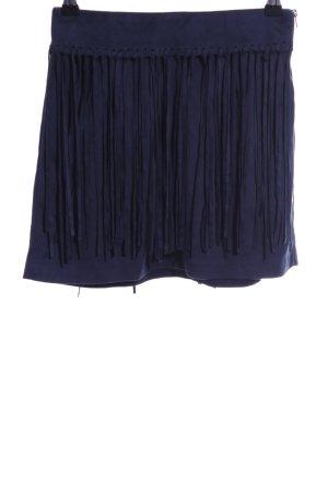 Zara Trafaluc Fringed Skirt blue casual look