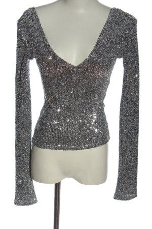 Zara Trafaluc Glanzende blouse zilver elegant