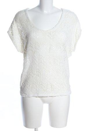 Zara Trafaluc Gehaakt shirt wolwit casual uitstraling