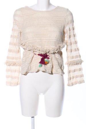 Zara Trafaluc Gehaakt shirt room gestreept patroon casual uitstraling