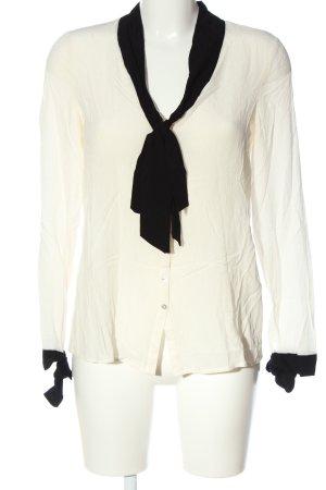 Zara Trafaluc Hemd-Bluse wollweiß-schwarz Casual-Look