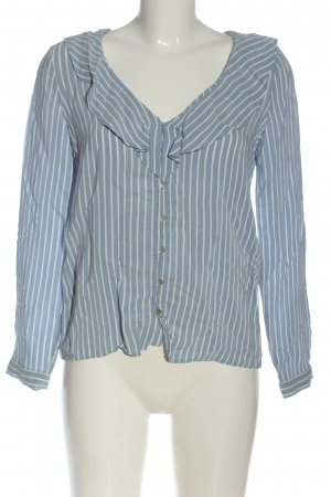 Zara Trafaluc Camicia blusa blu motivo a righe stile professionale