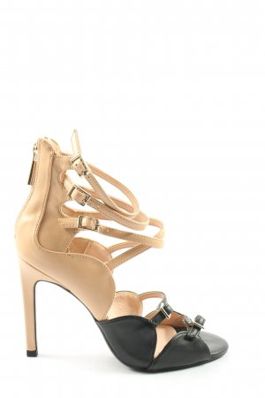 Zara Trafaluc High Heel Sandaletten wollweiß-schwarz Casual-Look