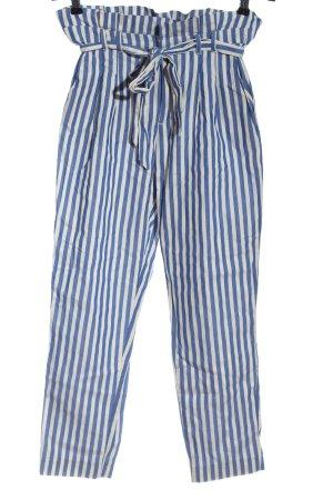 Zara Trafaluc Pantalon taille haute blanc-bleu motif rayé style décontracté