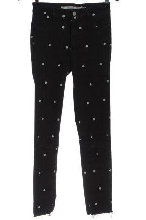 Zara Trafaluc High Waist Jeans schwarz-weiß Punktemuster Casual-Look