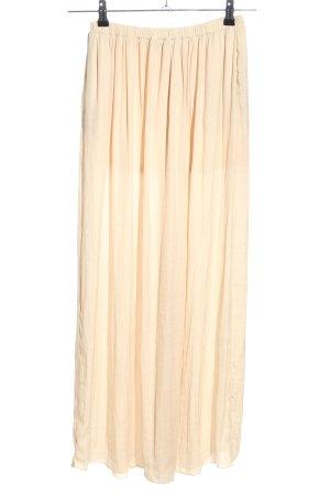 Zara Trafaluc Falda de talle alto crema look casual