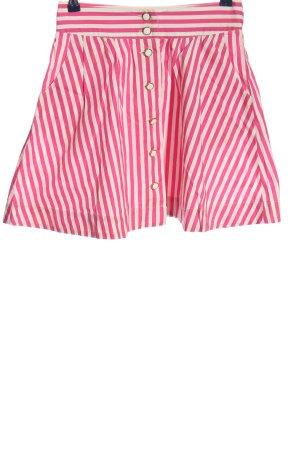 Zara Trafaluc Jupe taille haute rose-blanc cassé motif rayé