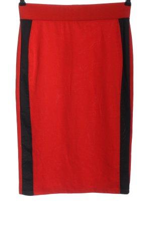 Zara Trafaluc High Waist Rock rot-schwarz Casual-Look
