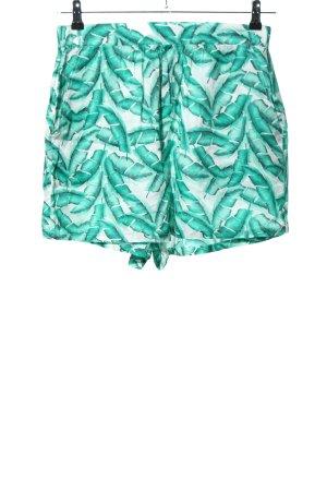 Zara Trafaluc High-Waist-Shorts türkis-weiß Allover-Druck Casual-Look