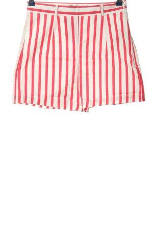 Zara Trafaluc High-Waist-Shorts pink-weiß Streifenmuster Casual-Look