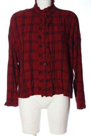 Zara Trafaluc Camisa de leñador rojo-negro estampado a cuadros