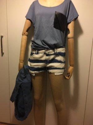 Zara Trafaluc Pantalón corto de tela vaquera azul oscuro-blanco