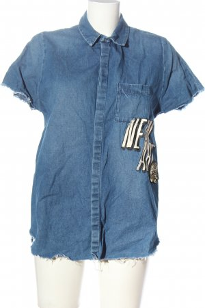 Zara Trafaluc Denim Shirt blue-white printed lettering casual look