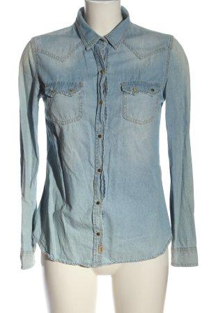 Zara Trafaluc Spijkershirt blauw casual uitstraling