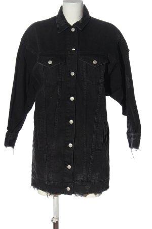 Zara Trafaluc Veste en jean noir-argenté lettrage imprimé style décontracté