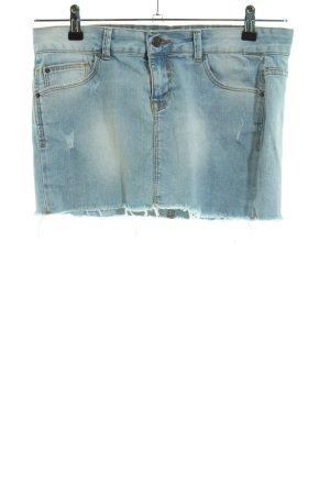 Zara Trafaluc Jeansrock blau-weiß Casual-Look