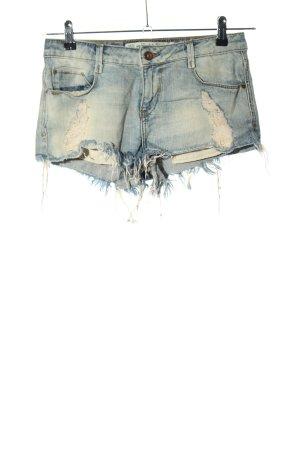 Zara Trafaluc Jeansshorts blau-blassgelb Casual-Look