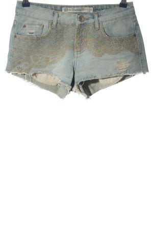 Zara Trafaluc Jeansshorts blau-creme Casual-Look