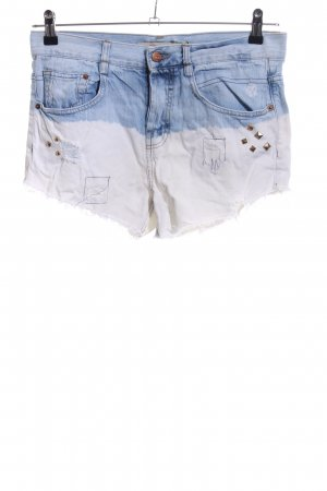 Zara Trafaluc Jeansshorts blau-weiß Farbverlauf Casual-Look