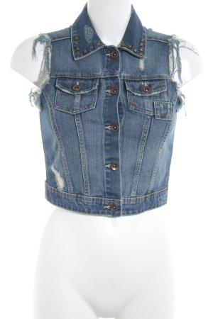 Zara Trafaluc Jeansweste stahlblau-weiß Metallknöpfe