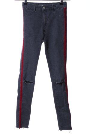 Zara Trafaluc Jeggings azul-rojo look casual