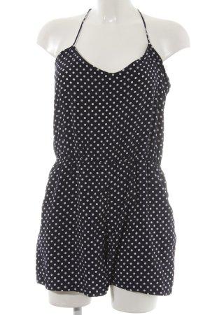 Zara Trafaluc Jumpsuit dunkelblau-weiß Punktemuster Casual-Look