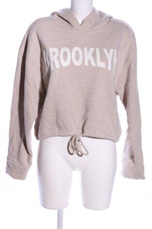 Zara Trafaluc Kapuzensweatshirt wollweiß Schriftzug gedruckt schlichter Stil