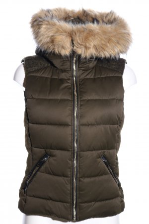 Zara Trafaluc Hooded Vest khaki casual look