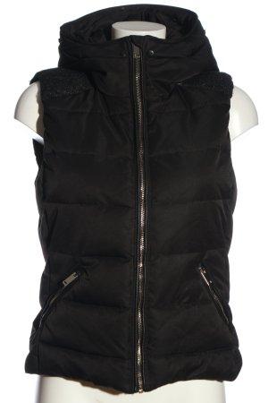 Zara Trafaluc Gilet à capuche noir motif de courtepointe style décontracté