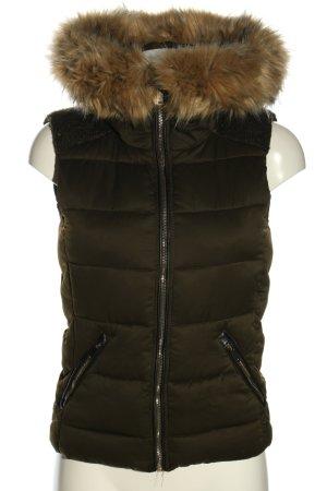Zara Trafaluc Capuchon vest khaki quilten patroon casual uitstraling