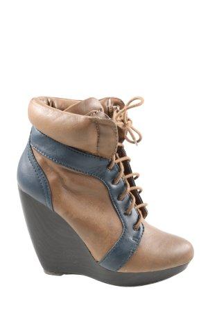 Zara Trafaluc Escarpin compensé brun-bleu style décontracté
