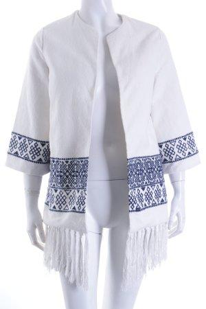 Zara Trafaluc Pull kimono blanc-bleu foncé style mode des rues