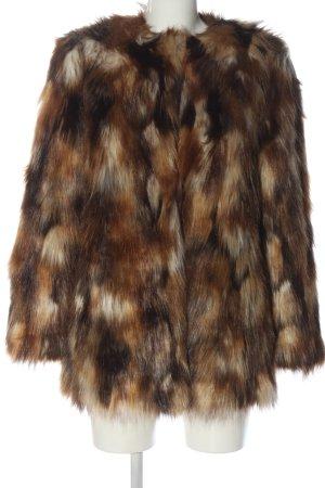 Zara Trafaluc Kurtka ze sztucznym futrem brązowy-w kolorze białej wełny