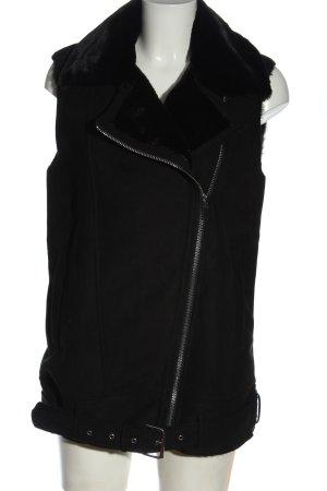 Zara Trafaluc Kamizelka ze sztucznym futrem czarny W stylu casual