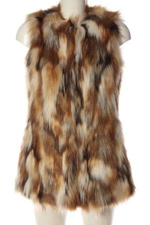 Zara Trafaluc Chaleco de piel sintética marrón-blanco puro look casual