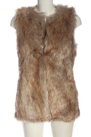 Zara Trafaluc Chaleco de piel sintética marrón-blanco puro degradado de color
