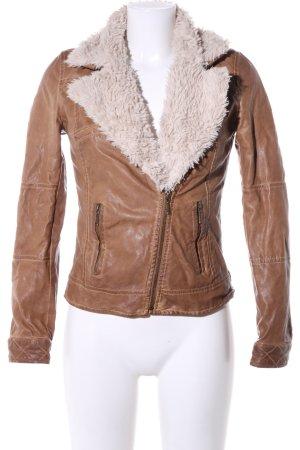 Zara Trafaluc Chaqueta de cuero de imitación marrón-crema look casual