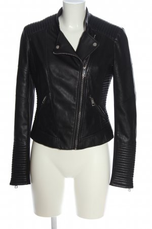 Zara Trafaluc Faux Leather Jacket black-silver-colored casual look