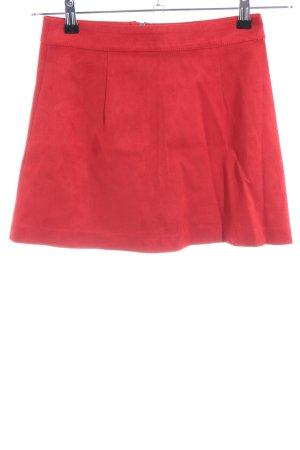 Zara Trafaluc Spódnica z imitacji skóry czerwony W stylu casual
