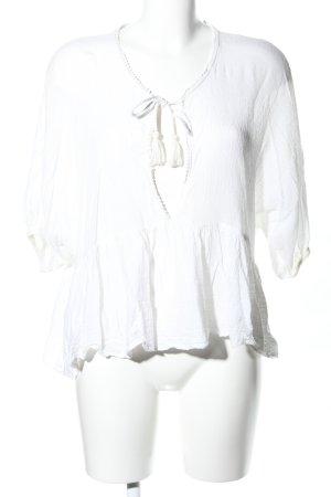 Zara Trafaluc Kurzarm-Bluse weiß Casual-Look