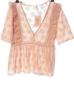 Zara Trafaluc Kurzarm-Bluse pink Blumenmuster Casual-Look