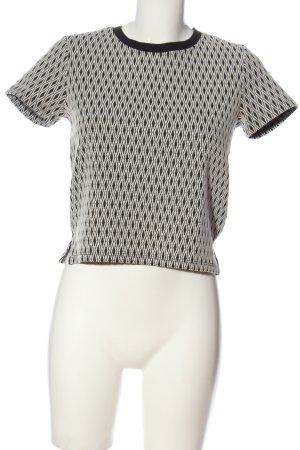 Zara Trafaluc Kurzarm-Bluse weiß-schwarz Allover-Druck Casual-Look