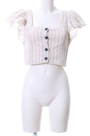 Zara Trafaluc Kurzarm-Bluse schwarz-creme Streifenmuster Casual-Look
