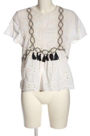 Zara Trafaluc Bluzka z krótkim rękawem biały W stylu casual