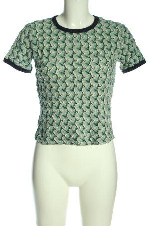 Zara Trafaluc Kurzarm-Bluse grün-schwarz abstraktes Muster Casual-Look
